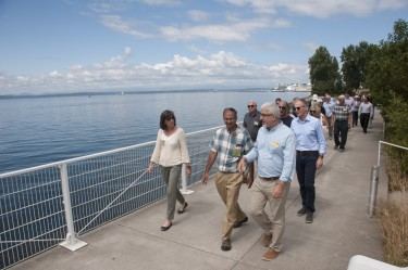 Levin, front right, leads a tour with the Conservancy's board members.