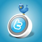 Twitter bird and logo on blue background