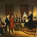 An image of artist Junius Brutus Stearns' painting of George Washington signing the U.S. Constitution at the Constitutional Convention of 1787. The University of Washington will hold its annual Constitution read-aloud event on Oct. 7 at Suzzallo Library.