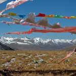 Buddhist flags blowing in wind