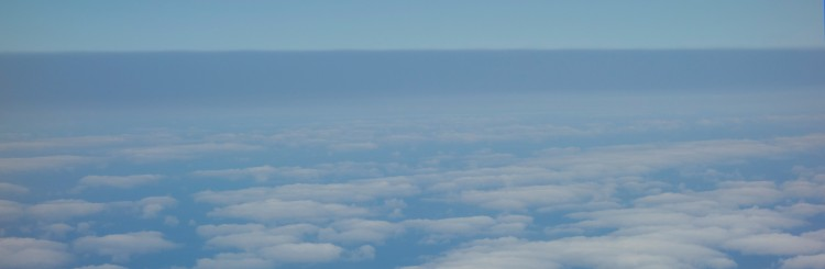 The dark blue band at the top is a smoke layer above the clouds, as seen from the research aircraft.