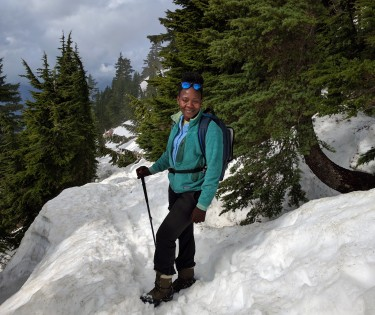 Carol Bogezi during fieldwork in the Cascades.