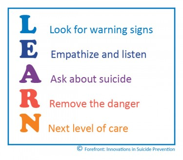 LEARN is a suicide-prevention curriculum designed by the UW Forefront group.
