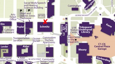 Map of campus marking the ballot box location on the north side of Schmitz Hall
