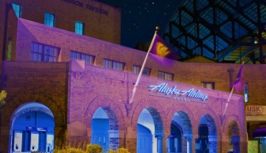 an image of alaska airlines arena with purple lights