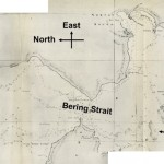 Historic map with red markings