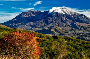 snow-capped mountain in fall