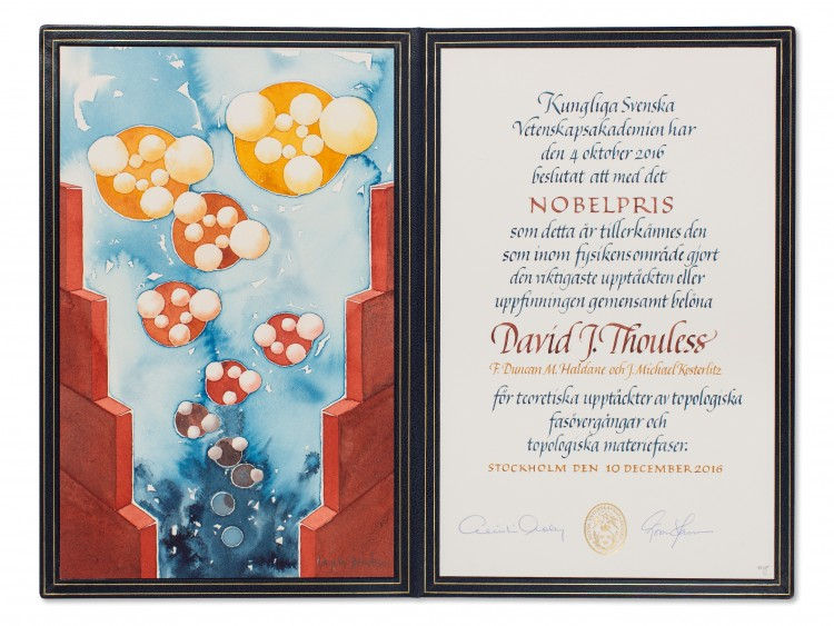 Nobel diploma for David James Thouless.