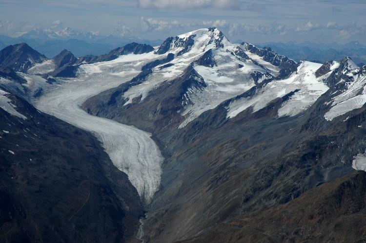 mountain range with glaciers
