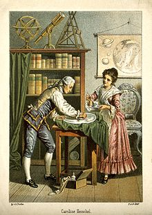 William Herschel and his sister Caroline polish a telescope lens (probably a mirror) in this 1896 Lithograph. Caroline Herschel was an astronomer in her own right -- the first woman to discover a comet.