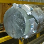 closeup of ice core in drill