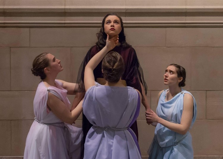 "The Undergraduate Theater Society will present ""Medea"" Feb. 23 through March 5 in the Cabaret Theater of Hutchinson Hall. Shown from left are student actors Ariaga Mucek, Jordan Kerlaske (in the title role), Annika Knapp, and Anaïs Gralpois."