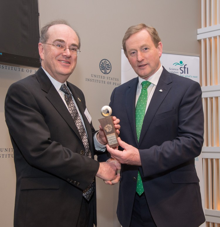 UW professor Adrian Raftery (left) with Irish Prime Minister Enda Kenny.