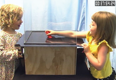 After swinging in sync, two 4-year-old girls work together to maneuver a toy through a transparent box.
