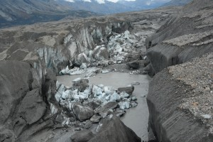 chunks of sediment-covered ice