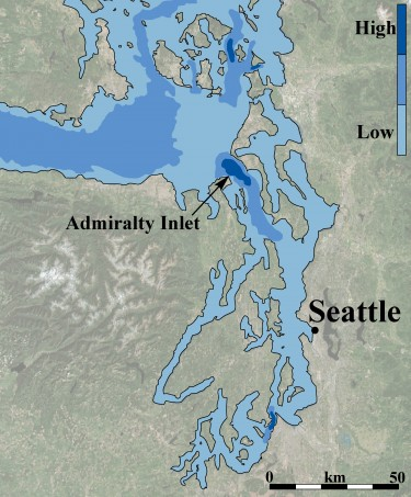 The best areas for tidal energy in Puget Sound.