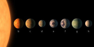 The ultra-cool dwarf star TRAPPIST-1 and its seven planets. A UW-led team has learned details of TRAPPIST-1h, the system's outermost planet.