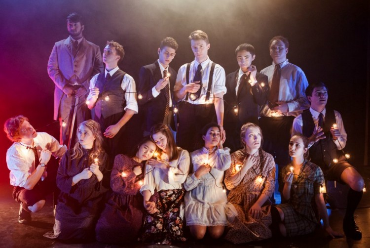 "The cast of the UW Undergraduate Theater Society's production of ""Spring Awakening."" From left, top row: Shiv Chitre, Jordan King, Michael Monicatti, Patrick McDermott, Sage Suzzeris, Jackson Ross. Second row: Ricky Spaulding, Caralee Howe, Charlene Kwon, Christine Munson, Saige Hawthorne, Alex Sturtevant, Olga Laskin and Spencer Stromberg. Not shown is cast member Candice Lundy."