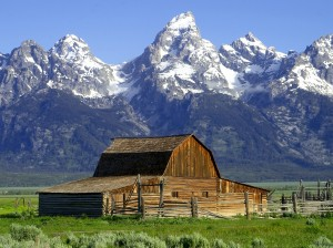 barn with mountains in the back