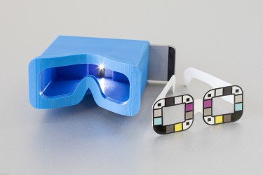 The UW team tested two different accessories for BiliScreen: a 3-D printed box to control lighting conditions and glasses that help the app calibrate colors. The goal is to remove the need for additional accessories, potentially by mining data from facial pictures.
