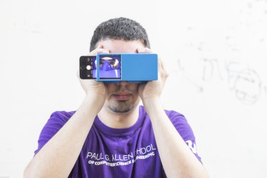BiliScreen is a new smartphone app that can screen for pancreatic cancer by having users snap a selfie. It's shown here with a 3-D printed box that helps control lighting conditions to detect signs of jaundice in a person's eye.
