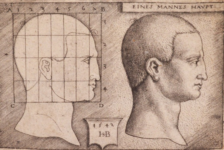 """A Mans Head,"" 1542, an engraving on laid paper by Hans Sebald Beham (Germany, 1500-1550) -- among gifts to the Henry Art Gallery from longtime collector Albert Feldmann."