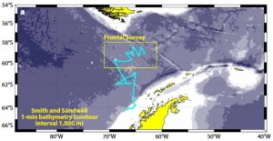 The Wave Glider followed the blue line. It began in summer off the Antarctic Peninsula and traveled north across Drake Passage. The ocean drone zigzagged through the region where Pacific and Atlantic water meets Southern Ocean currents, in which temperatures change dramatically and most mixing occurs.