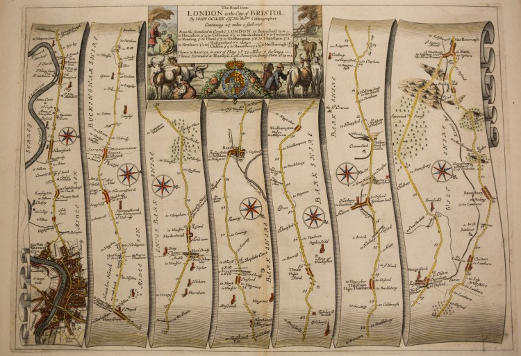 """The Road from London to the City of Bristol,"" a map circa 1675 by Scottish cartographer John Ogilby -- part of ""All Over the Map: From Cartographs to (C)artifacts,"" a UW Libraries Special Collections exhibit in Allen Library, on display until Jan. 31, 2018."