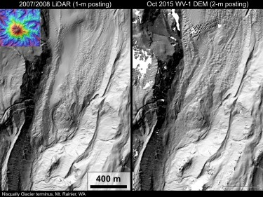 The left is costly aerial lidar data, collected in a 2007 survey, and the right is 2015 satellite data, both for the tip of Nisqually Glacier on Mount Rainier. Comparing these data shows roughly 300 meters (1,000 feet) of terminus retreat from 2007 to 2015.