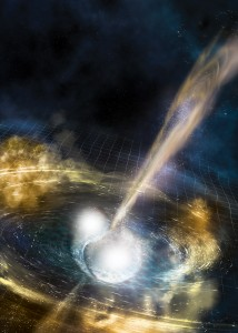 an illustration of two stars colliding