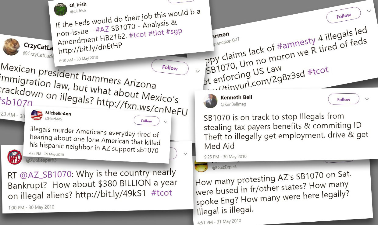 A UW study examined tweets at the height of debate over an anti-immigration bill in Arizona. This collage of tweets demonstrates one of the study's findings, that negative sentiments toward immigrants dominated the messages.