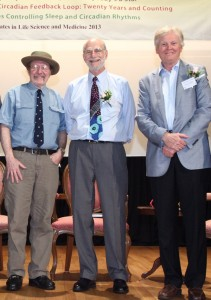 Left-to-right: Jeffrey C. Hall, Michael Rosbash and Michael W. Young in 2013.