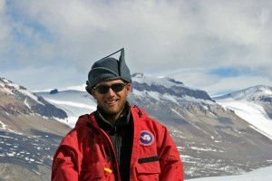 researcher in red jacket