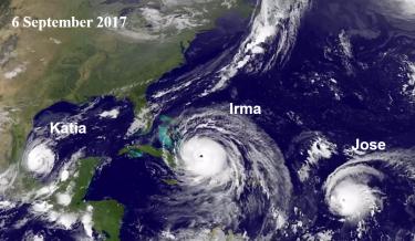 satellite image of three hurricanes