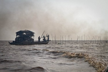 Commercial fishing in Tonle Sap Lake, Cambodia.
