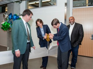 A ribbon cutting ceremony.