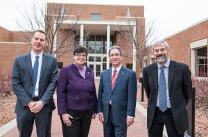 PNNL and UW leaders attend the launch of NW IMPACT at the PNNL campus on Jan. 31. Left-to-right: NW IMPACT co-director David Ginger; UW President Ana Mari Cauce; PNNL Director Steven Ashby; NW IMPACT co-director Jim De Yoreo.