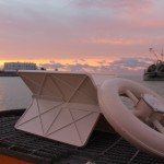 white plastic drifter on ship deck