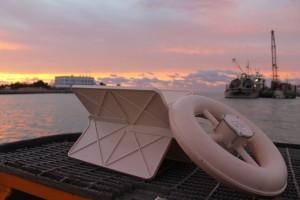 white plastic drifter on ship deck