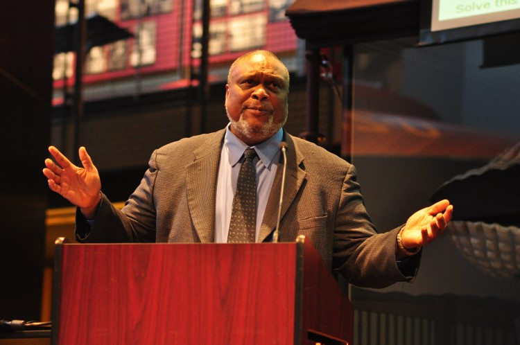 Quintard Taylor giving the 2016 Denny Lecture at the Museum of History and Industry, Seattle, Washington on Tuesday, March 29, 2016