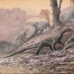 an artist rendering of teleocrater, an early dinosaur relative