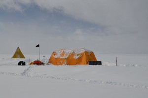 yellow tent on snow