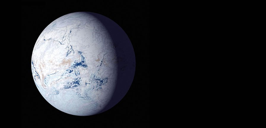 "An artist's impression of Earth as a frigid ""'snowball"" planet. New research from the University of Washington indicates that aspects of a planet's axial tilt or orbit could trigger such a snowball state, where oceans freeze and surface life is impossible."