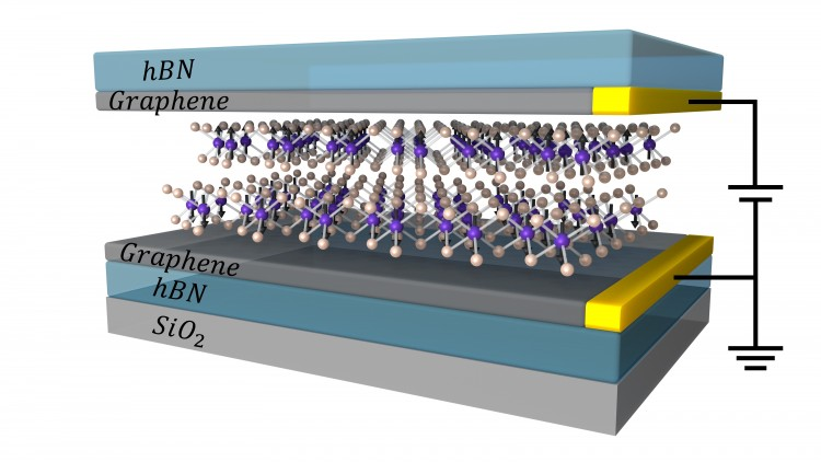 In the experiment, the researchers sandwiched two atomic layers of CrI3 between graphene contacts and measured the electron flow through the CrI3.