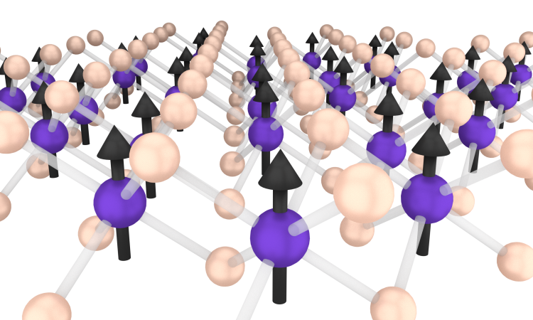 "A depiction of the crystal structure of chromium triiodide (CrI3), with chromium atoms shown in purple and iodine atoms in yellow. The black arrows represent the electron ""spins,"" which are analogous to tiny bar magnets."