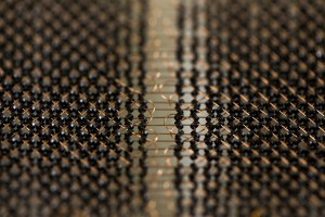 A close-up of a core memory plane