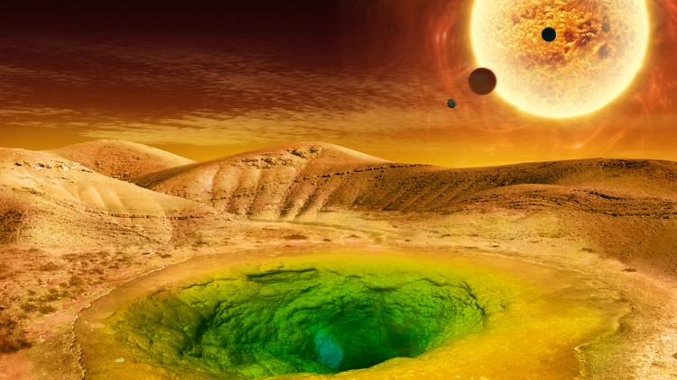This image is an artist's conception of what life could look like on the surface of a distant planet.
