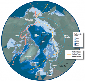 Arctic Ocean map showing both shipping routes