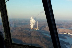 Power plant through aircraft window