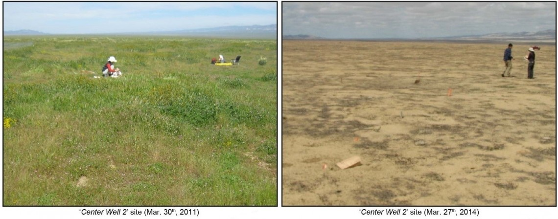 comparison of site before and during drought